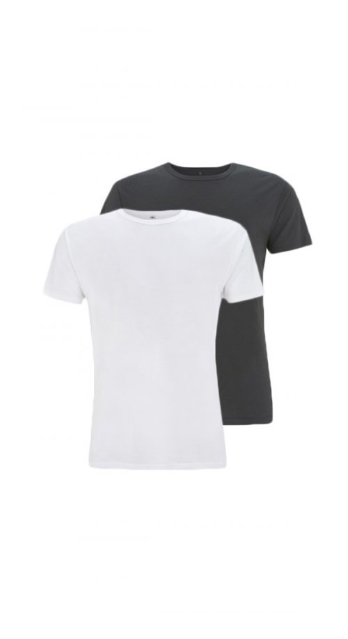 Bamboe T-shirts antraciet en wit