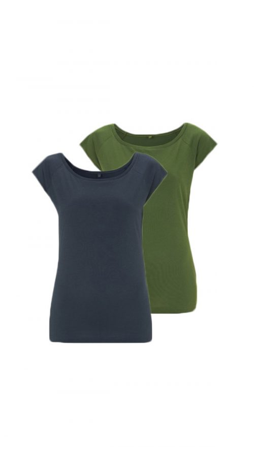 Bamboe tops denim en groen