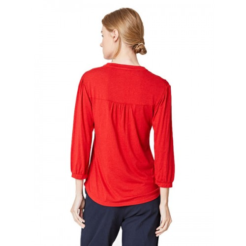 Bamboe blouse rood achterkant Created by Earth