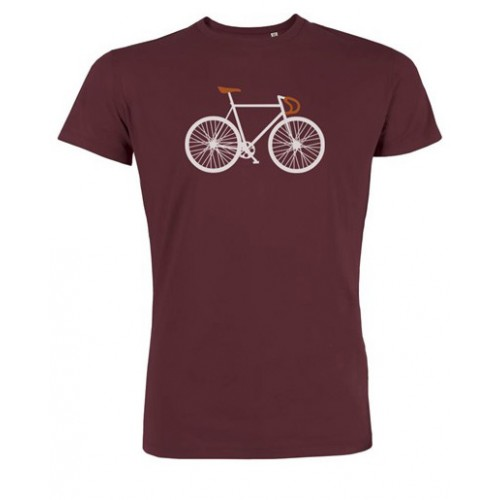Biologisch T-shirt Bike bordeaux rood Created by Earth